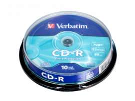 Диск CD-R VERBATIM 700Mb 52х 80min Cake(10) Extra